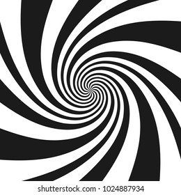 Psychedelic spiral with radial gray rays. Swirl twisted retro background. Comic effect vector illustration.