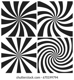 Psychedelic spiral with radial gray rays. Swirl twisted retro background. Comic effect vector illustration set.