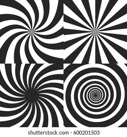 Psychedelic spiral with radial rays, twirl, twisted comic effect, vortex backgrounds - vector set