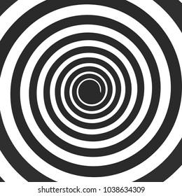 Psychedelic spiral vector. Hypnotic spiral. Funnel black color. Mind control
