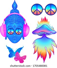 Psychedelic sticker set: trippy mushrooms, peace sign acid Buddha, butterflies, all-seeing eye mandala. Patch badges with stoned trippy drug elements in cartoon comic style. Pop art patches, pins.