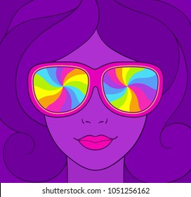 Psychedelic style portrait of pretty girl in sunglasses with rainbow swirls. Groovy neon colors vintage illustration.