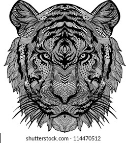 psychedelic tiger isolated