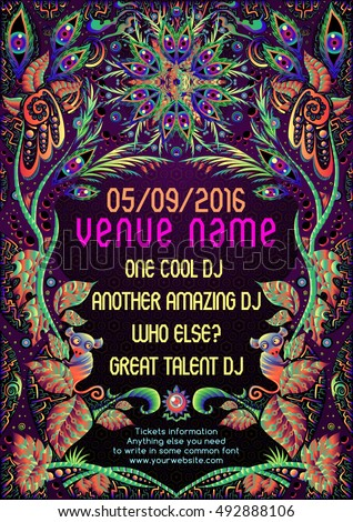 psychedelic trance party flyer poster template stock vector royalty