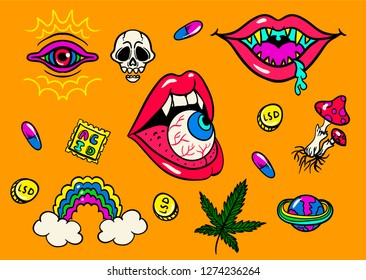 psychedelic trip symbols:LSD, weed, skull, eyeball, rainbow, drugs