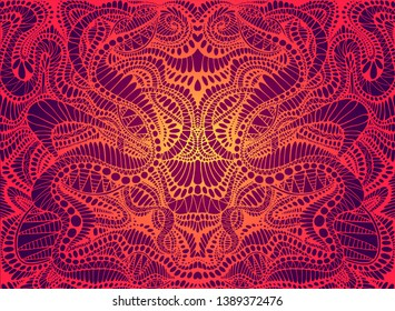 Psychedelic trippy colorful fractal mandala, gradient bright red, orange,yellow colors outline,on dark background. Decorative abstract element pattern.Vector illustration. Shamanic fantasy background