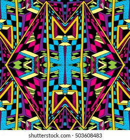 Psychedelic Trippy Hippie 60s Colors Seamless Pattern Vector Illustration