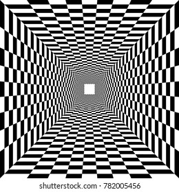 psychedelic tunnel, chessboard pattern in black and white