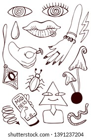 Psychedelic vector illustration hands eyes worm contours hand drawing