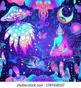 Psychedelic vector seamless pattern: trippy mushrooms, peace sign, acid Buddha, butterflies, all-seeing eye, mandala. Background with stoned trippy drug elements in cartoon comic style.