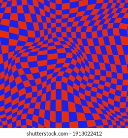 PSYCHEDELIC WARPED CHECKERBOARD. VECTOR SEAMLESS PATTERN