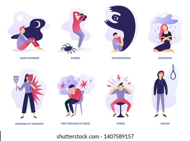 Psychiatric illness. Mental disorder, paranoia feeling and panic problem. Psychic illnesses and disorders vector illustration set