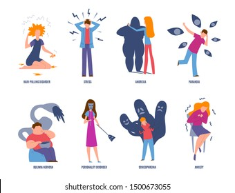 Psychiatric illness. Mental disorders, paranoia and panic, bulimia and stress. Anxiety and anorexia psychic diseases vector sickness emotion problem set