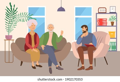 Psychiatrist consultation. Worried elderly pensioner couple man and woman on psychologist session. Difficult relationships. Family crisis treatment. Psychotherapy practice with a man psychotherapist