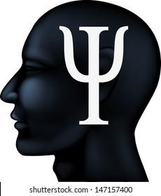 Psychiatry symbol on people silhouette