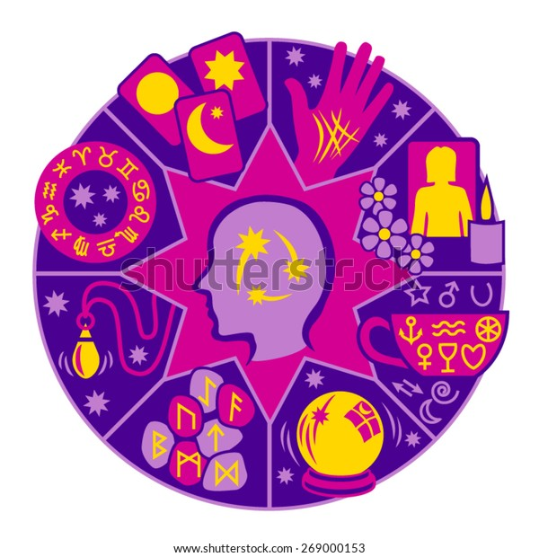Psychic Circle - 8 types of fortune telling in pink, purple and yellow