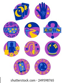 Psychic Fortune Teller icons - purple and blue