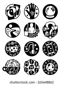 Psychic, fortune telling icons in black