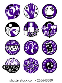 Psychic, fortune telling icons in black and purple