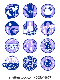 Psychic, fortune telling icons in blue and mauve