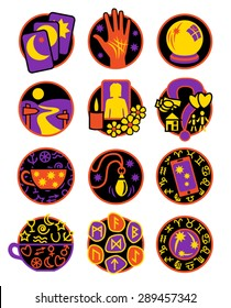 Psychic, fortune telling icons multi coloured