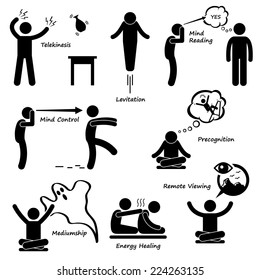 Psychic Power Sixth Sense Stick Figure Pictogram Icon