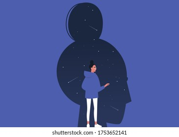 Psychoanalysis, young female character studying their own subconscious, stars and comets inside a dark silhouette