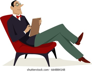 Psychoanalyst sitting in a chair with a notepad, EPS 8 vector illustration