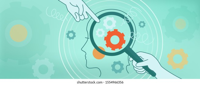 The psychological concept of human thinking, brain mechanics, complexes, problems. Vector Illustration face in profile, magnifier, gears, springs on a blue background. Website, cover page, banner.