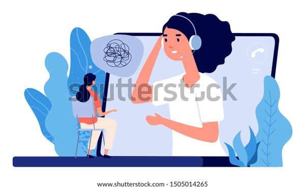 Psychological counseling concept. Vector online psychological assistance service illustration