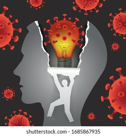 Psychological examination, Mental problems in coronavirus pandemic time.  Male head in profile with with bulb in the shape of coronavirus.  Vector available.