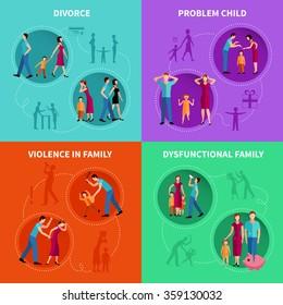 Psychological factors of family problems flat decorative icons set  vector illustration