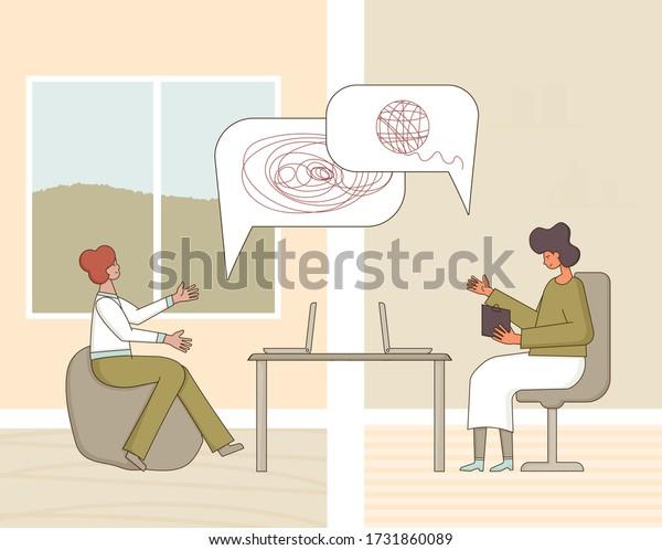 オンラインでの心理的なヘルプ。 カウンセリングのコンセプト。 ストレスを受けた患者を自宅で治療する心理学者。 ソファで聞いている悲しい男。 ベクターフラットイラスト。