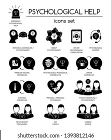 Psychological help. Set of black silhouette icons symbols for psychology counseling, consulting, psychotherapy.Flat design. Vector illustration