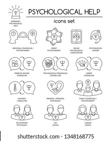 Psychological help. Set of linear icons symbols for psychology counseling, consulting, psychotherapy. Flat design. Vector illustration