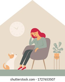 The psychological impact of coronavirus quarantine lockdown. Woman sitting inside the house with her dog, feeling stress emotion, depression. Flat vector illustration