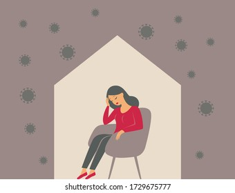 The psychological impact of coronavirus quarantine lockdown. Woman sitting alone inside her house, feeling stress emotion, depression. Flat vector illustration