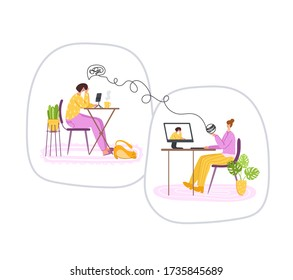 Psychological online services - personal distance support or assistance at home by internet. Upset girl listening to psychologist doctor, individual helpful therapy session or consultation vector
