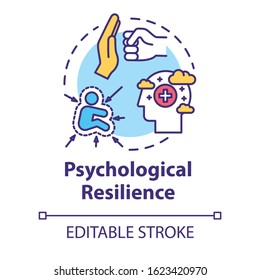 Psychological resilience concept icon. Stress protection. Ability to emotionally cope with crisis. Mental health idea thin line illustration. Vector isolated outline RGB color drawing. Editable stroke