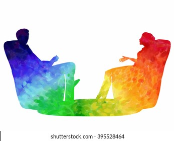Psychological session: man and woman are sitting in chairs talking