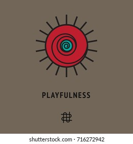 Psychological sign of smiling sun, symbol of playfulness. Philosophical logo +different icon below. Maze card, playing cover. Mental illustration, abstract wallpaper, symbolic poster.