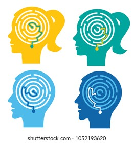 Psychological test, Labyrinth in the heads.  Four male and female stylized head silhouettes with maze.Concept symbolizing the process of thinking. Vector available.