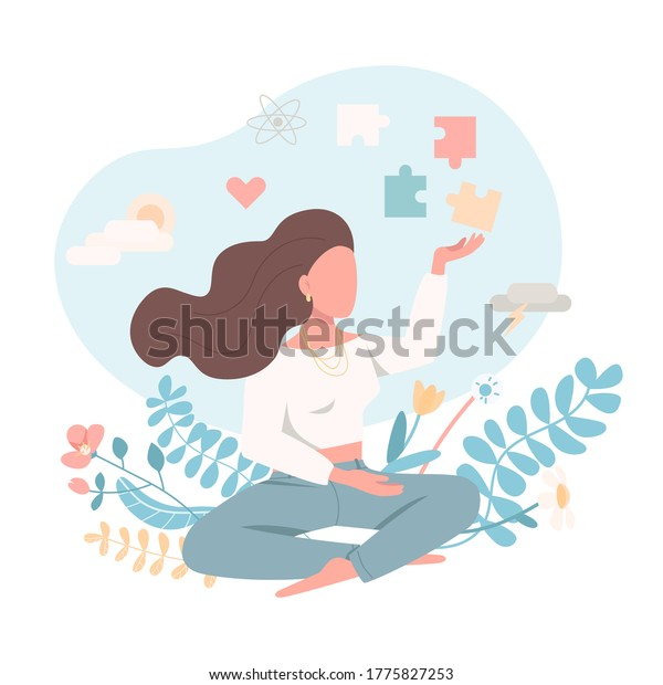 Psychologically healthy female flat color vector faceless character. Emotional wellbeing. Peace of mind. Mental health isolated cartoon illustration for web graphic design and animation
