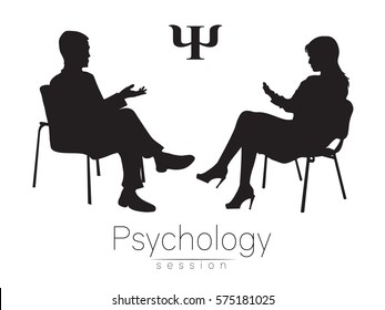 The psychologist and the client. Psychotherapy. Psycho therapeutic session. Psychological counseling. Man woman talking while sitting.Silhouette. Black profile. Therapist Logotype