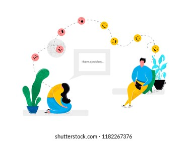 Psychologist consulting patient depressed girl sitting in sad pose. Mental health problems psychology help for people with depression stress concept. Vector illustration in flat style