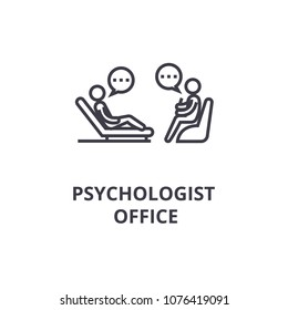 psychologist couch thin line icon, sign, symbol, illustation, linear concept, vector