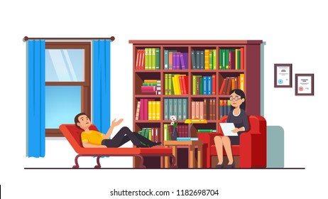 Psychologist counseling patient. Young man talking about mental problems to therapist lying on couch in psychotherapy counseling office room interior with bookcase. Flat vector character illustration
