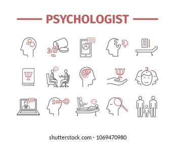 Psychologist line icons set. Conceptual infographics. Counseling psychology. Vector sign for web graphics.