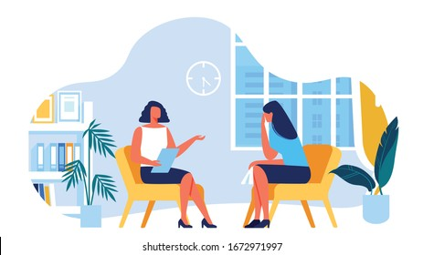 Psychologist with Notebook in Hand Communicates with Client. Room Psychologist. Woman Depression. Psychological Help. Vector Illustration. Training for Women. Psychologist Support. Blue Interior.