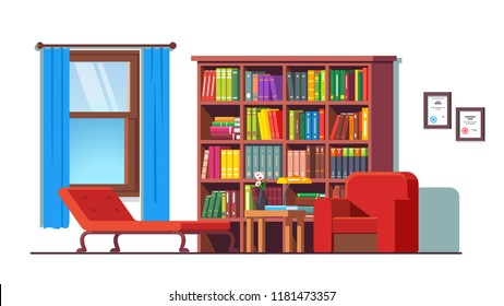 Psychologist office with couch, armchair, big bookcase and window. Psychology counseling workplace. Cozy room interior with furniture & books library. Flat style vector illustration isolated on white
